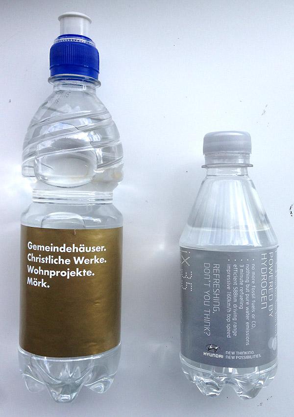 Etikett Wasser mit Sonderfarben