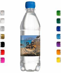 500 ml Werbe-Wasser mit eigenem Etikett. Freie Farbwahl des Schraubverschlusses.