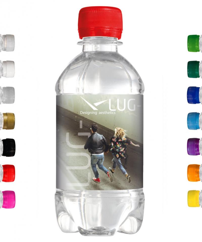 330 ml Werbe-Wasser mit eigenem Etikett. Freie Farbwahl des Schraubverschlusses.
