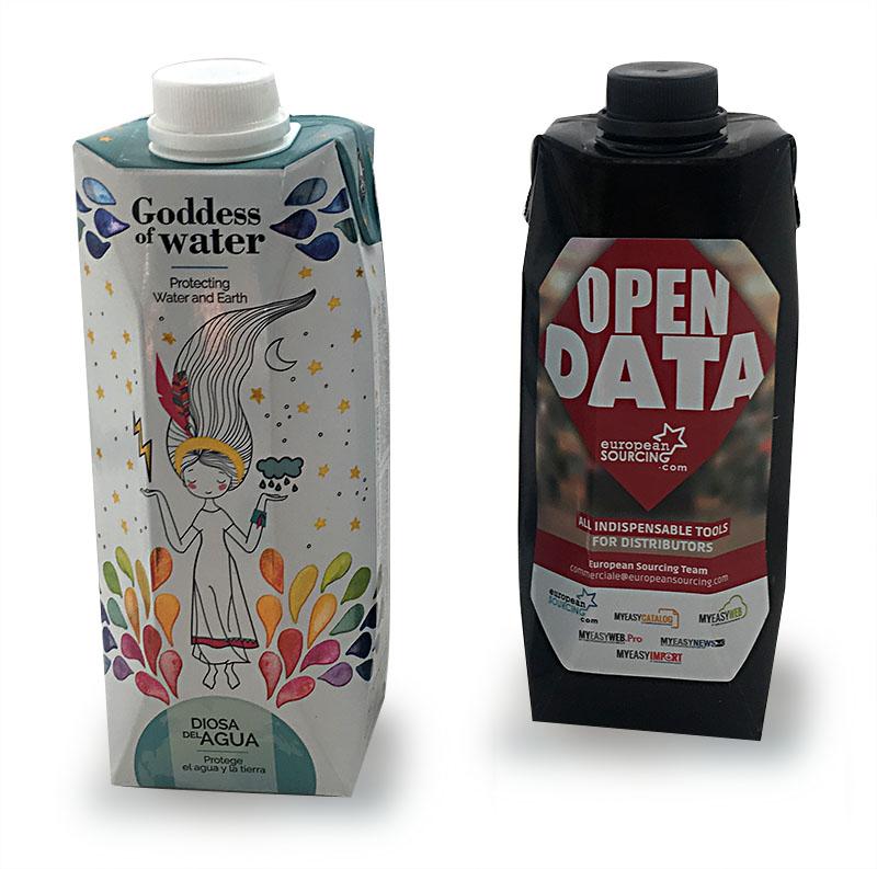 500 ml Tetrapack Wasser Schwarz Weiß