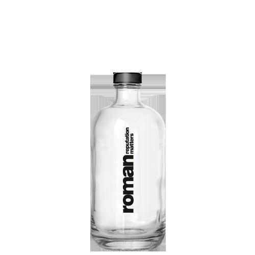 Glaswasserflasche mit Aufdruck
